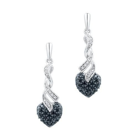 10K White Gold 0.20 Ctw Black Diamond Fashion Dangle Earrings 2.79g: Earrings