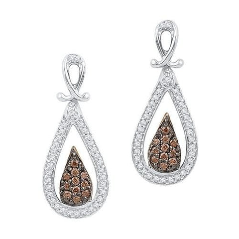 10K White Gold 0.25 Ctw Champagne Diamond Fashion Dangle Earrings 2.65g: Earrings