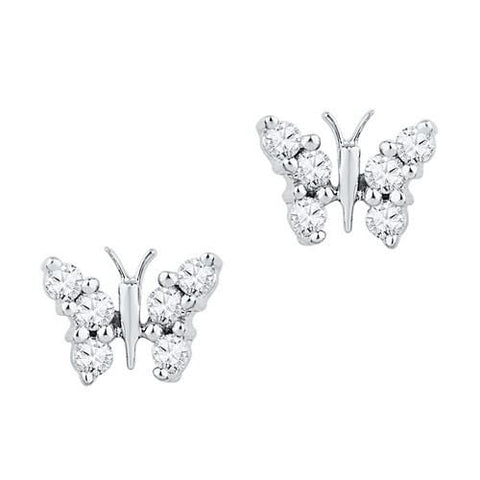 10K White Gold 0.20 Ctw Diamond Butterfly Stud Earrings 0.86g: Earrings
