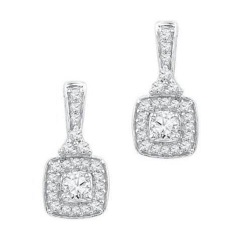 10K White Gold 0.50 Ctw Diamond Fashion Dangle Earrings 2.38g: Earrings