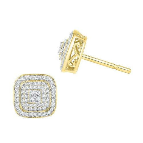 10K Yellow Gold 0.60 Ctw Diamond Fashion Stud Earrings 4.02g: Earrings