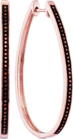 10K Rose Gold 0.25 Ctw Red Diamond Fashion Hoop Earrings 6.72g: Earrings