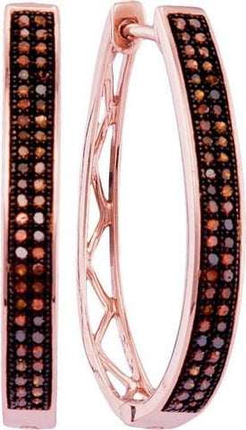 10K Rose Gold 0.33 Ctw Red Diamond Fashion Hoop Earrings 3.76g: Earrings