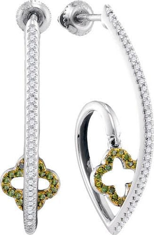 10K White Gold 0.25 Ctw Green Diamond Fashion Hoop Earrings 3.25g: Earrings