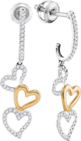 10K Two Tone Gold 0.25 Ctw Diamond Micro Pave Dangle Earrings 1.32g: Earrings