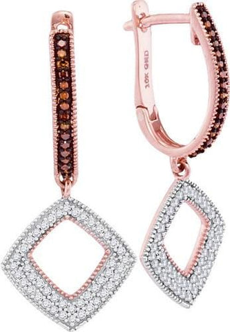10K Rose Gold 0.40 Ctw Red Diamond Fashion Dangle Earrings 2.93g: Earrings