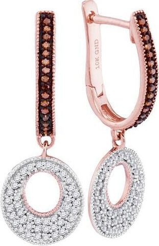 10K Rose Gold 0.41 Ctw Red Diamond Fashion Dangle Earrings 2.63g: Earrings