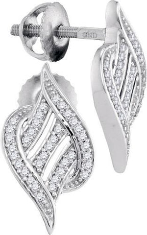 10K White Gold 0.16 Ctw Diamond Micro Pave Dangle Earrings 1.75g: Earrings