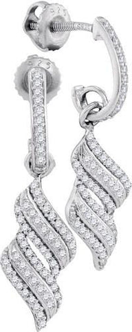10K White Gold 0.33 Ctw Diamond Micro Pave Dangle Earrings 1.88g: Earrings