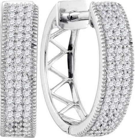10K White Gold 0.33 Ctw Diamond Micro Pave Hoop Earrings 2.86g: Earrings
