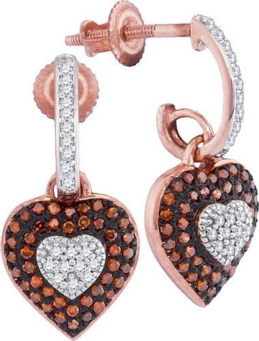 10K Rose Gold 0.33 Ctw Red Diamond Mirco Pave Dangle Earrings 2.07g: Earrings