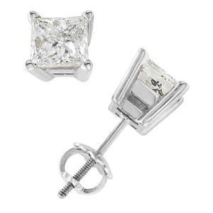 Platinum & Princess Diamond Stud Screw Back Earrings (1.50 ctw): 0