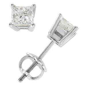18k White Gold & Princess Diamond Stud Earrings (0.50 ctw): 0