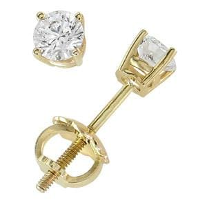 18k Yellow Gold & Round Diamond Stud Earrings (0.25 ctw): 0