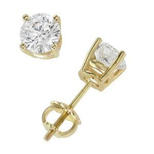 18k Yellow Gold & Round Diamond Stud Earrings (1.00 ctw): 0