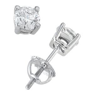 Platinum & Round Diamond Stud Earrings (3.00 ctw: 0
