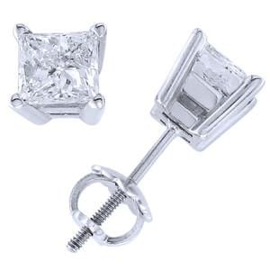 Platinum & Princess Diamond Stud Earrings (3.00 ctw): 0