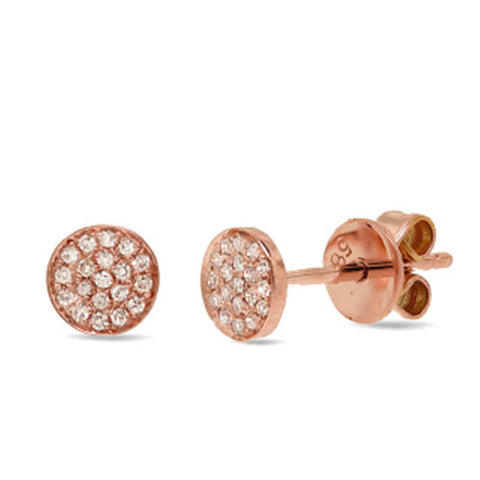 0.07ct 14k Rose Gold Diamond Pave Stud Earring: