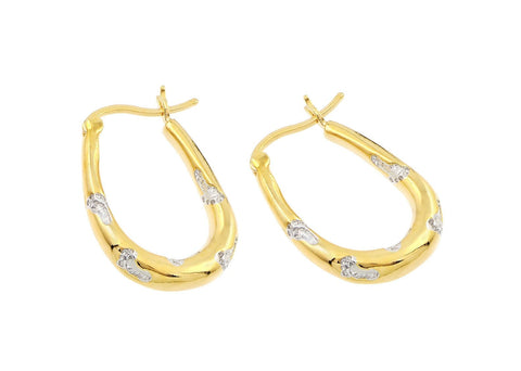 .925 Sterling Silver Gold Plated Foot Print Cubic Zirconia Inlay Hoop Earring: