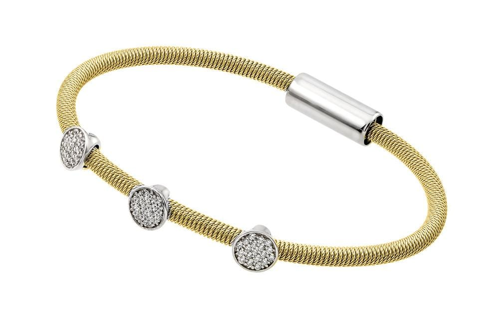 Sterling Silver Yellow Rhodium Cubic Zirconia Fashion Bracelet: