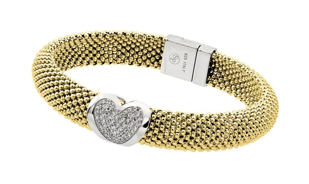 Sterling Silver Yellow Rhodium Cubic Zirconia Heart Fashion Charm Bracelet: