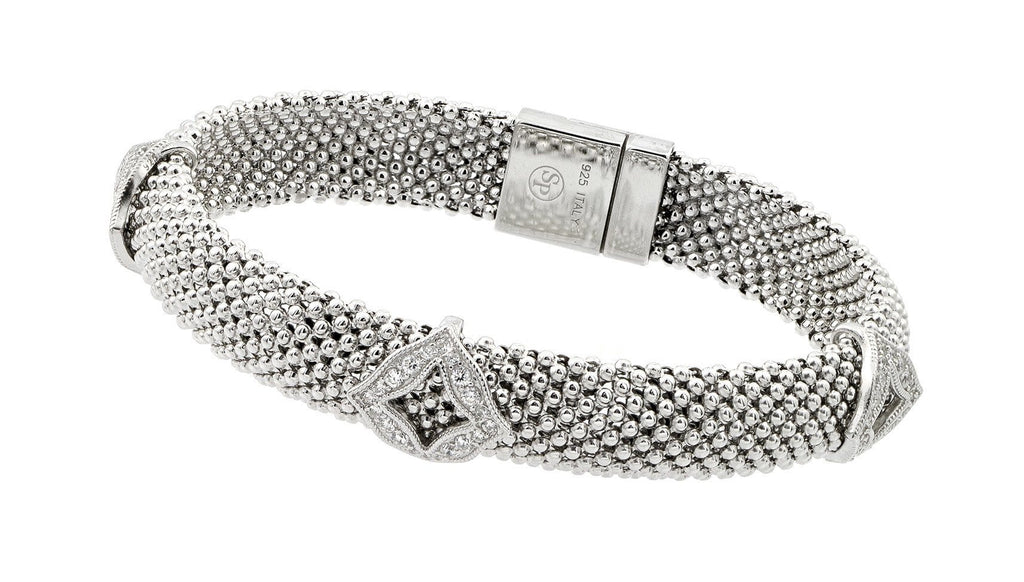 Sterling Silver Cubic Zirconia Fashion Charm Bracelet: