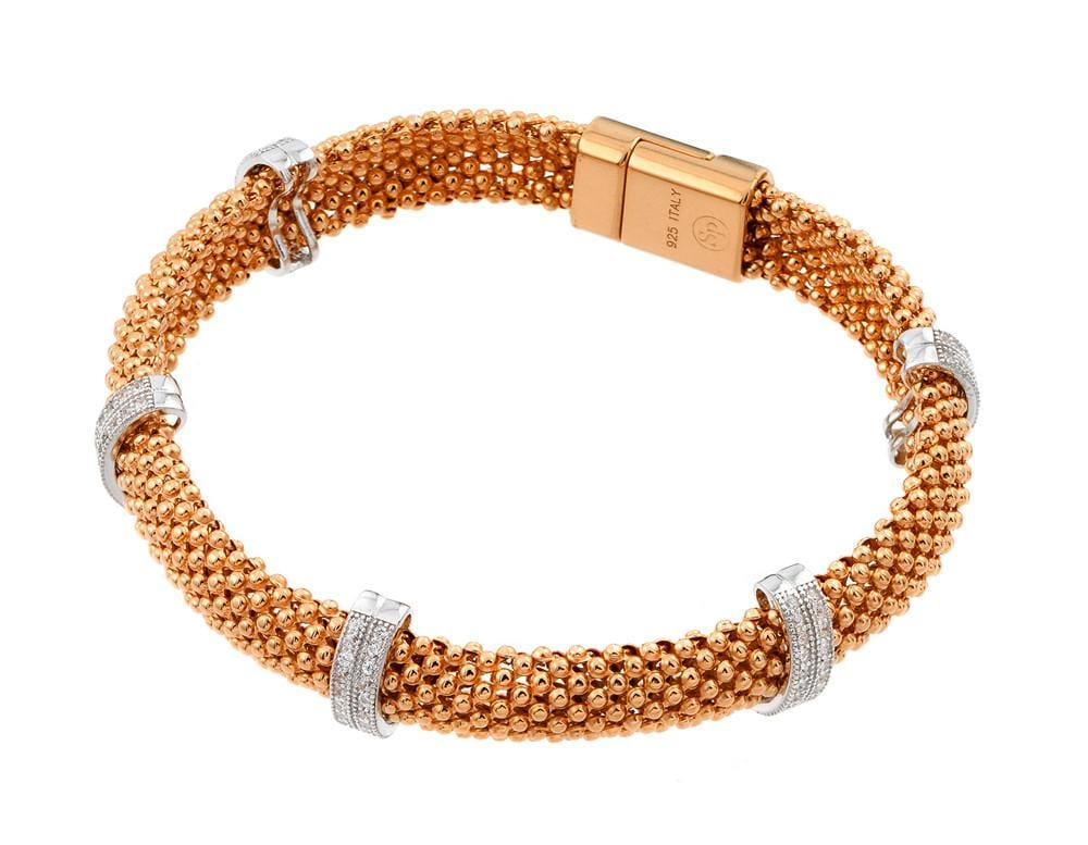 Sterling Silver Rose Gold Plated Cubic Zirconia Fashion Chain Bracelet: