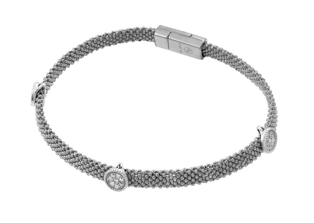 Sterling Silver Rhodium Cubic Zirconia Fashion Charm Braceletlet: