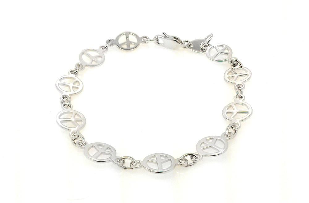 Sterling Silver Peace Sign Link Bracelet:
