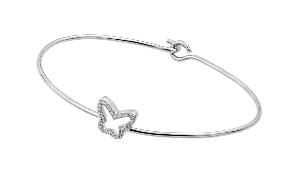 Sterling Silver Cubic Zirconia Bangle Bracelet: