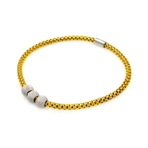 Sterling Silver 925 Stretchable Italian Bead Chain Bracelet  567-itb00051gp: