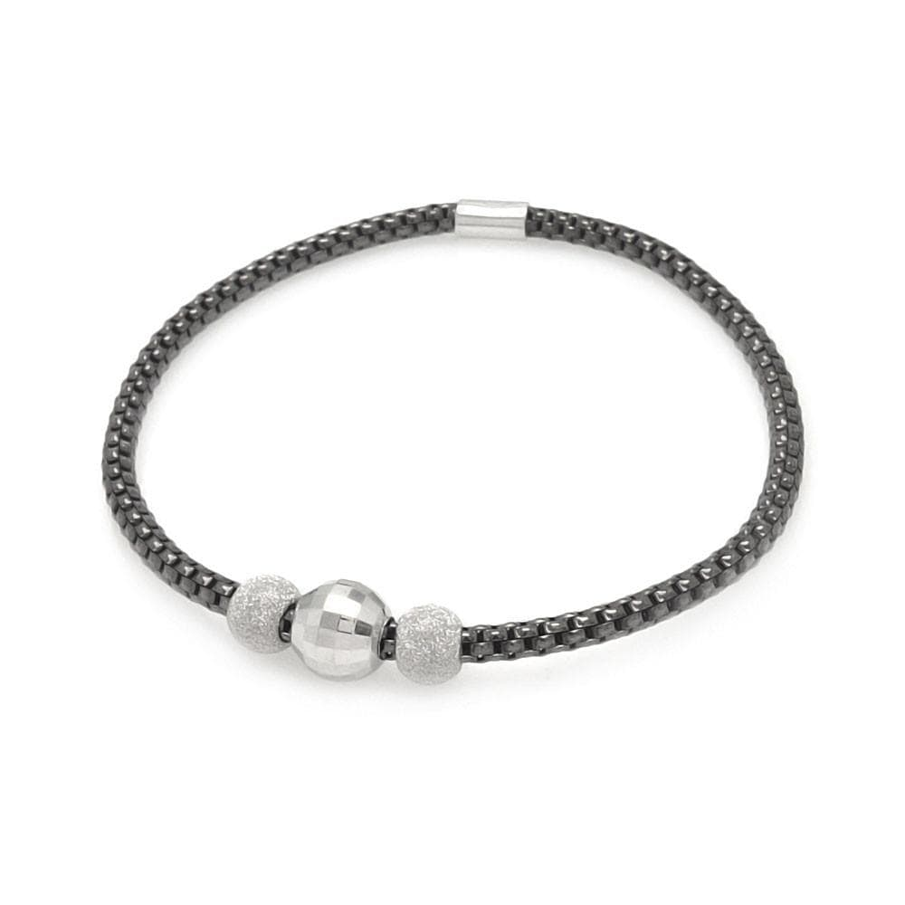Sterling Silver 925 Stretchable Italian Bead Chain Bracelet  567-itb00053blk: