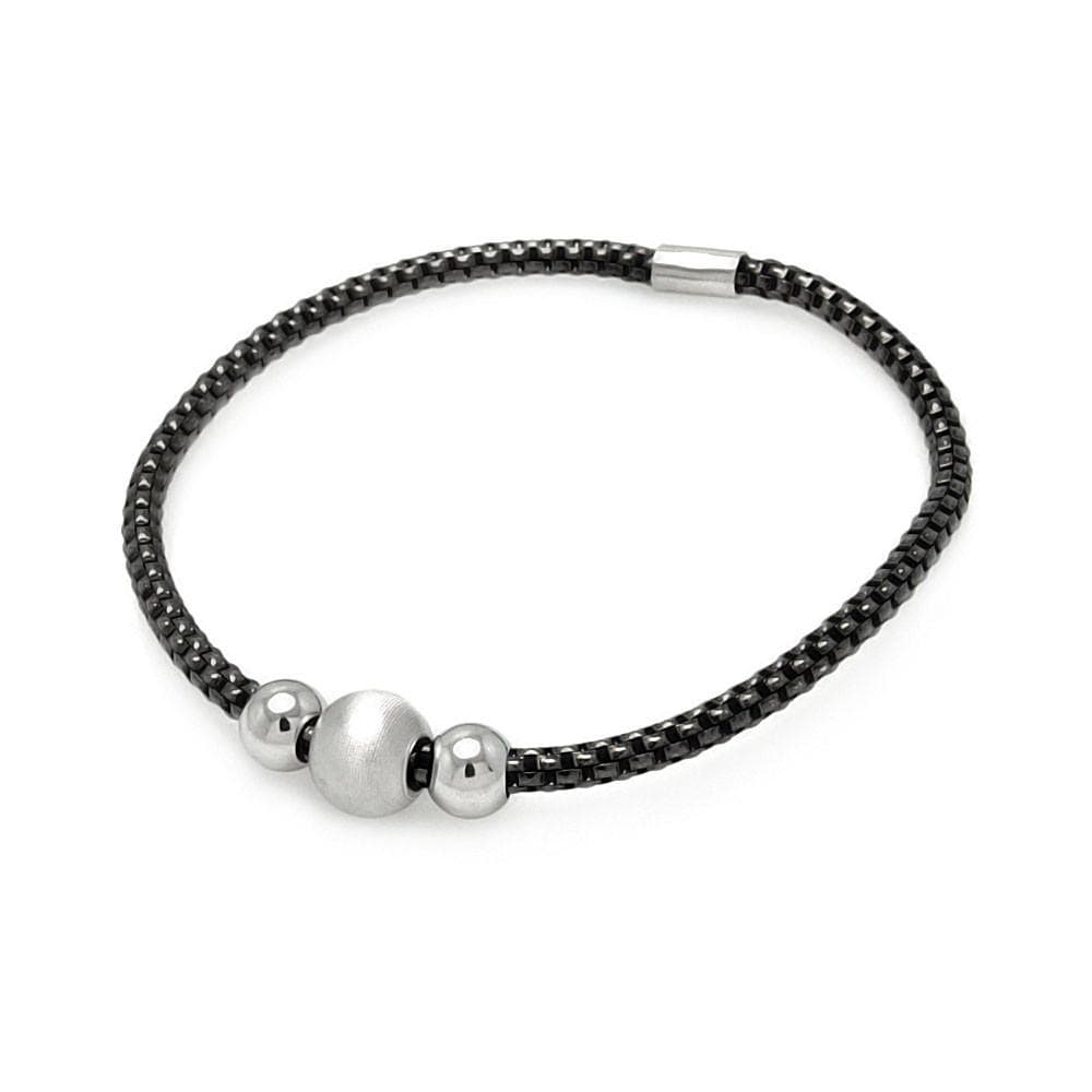 Sterling Silver 925 Stretchable Italian Bead Chain Bracelet  567-itb00056blk:
