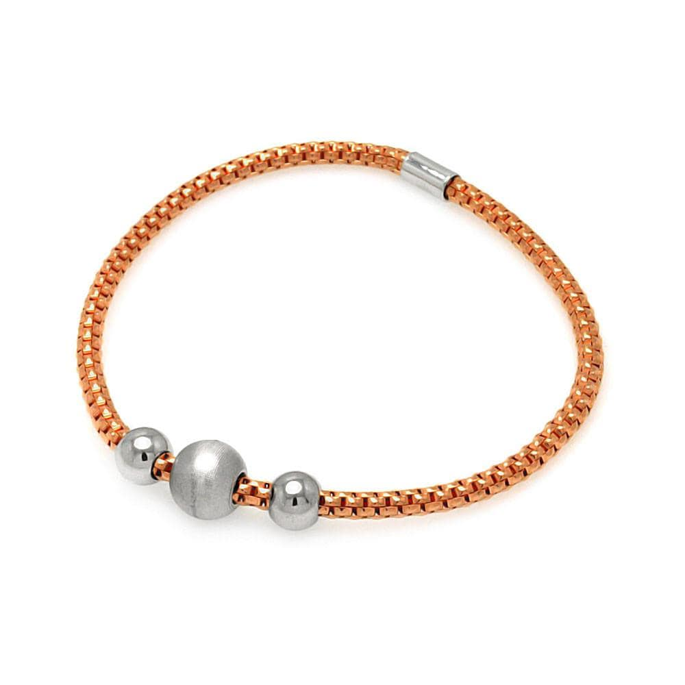 Rose Gold Over Sterling Silver 925 Stretchable Italian Bead Chain Bracelet  567-itb00056rgp: