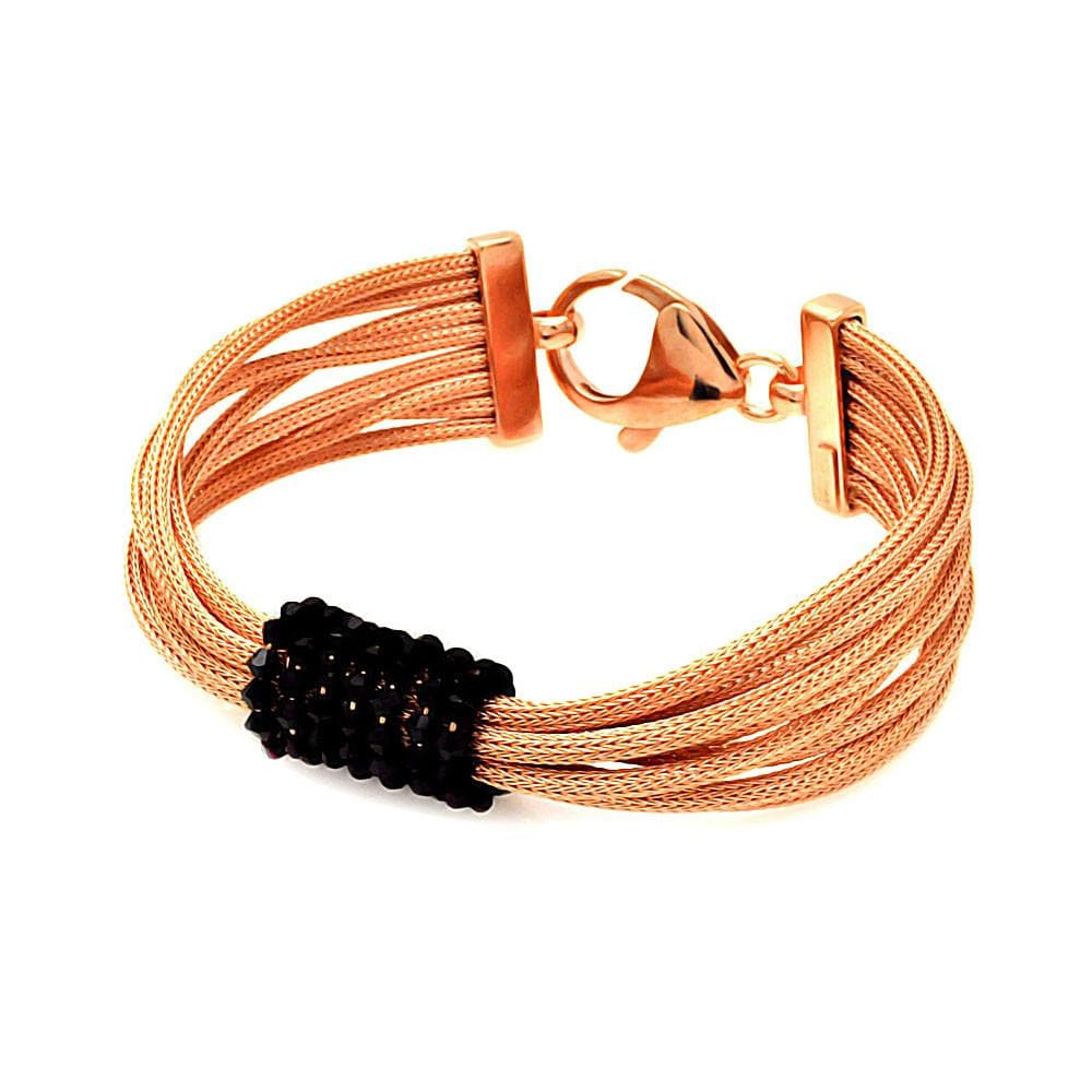 "Rose Gold Over Sterling Silver 925 Italian Bracelet 7.5"""" 567-itb00070rgp:"