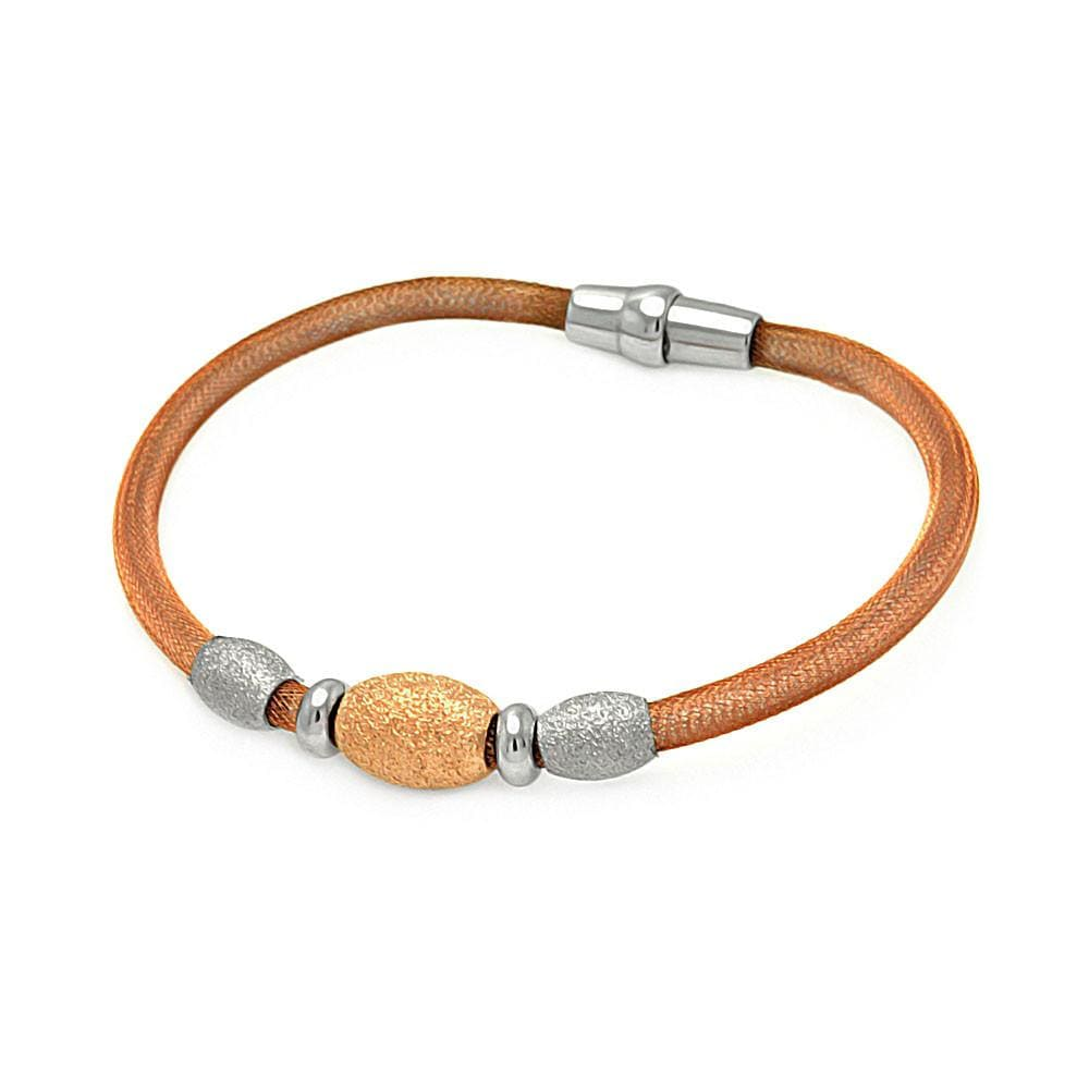 "Rose Gold Over Sterling Silver 925 Magnet Italian Bead Chain Bracelet 7.5"""" 567-itb00083rgp:"