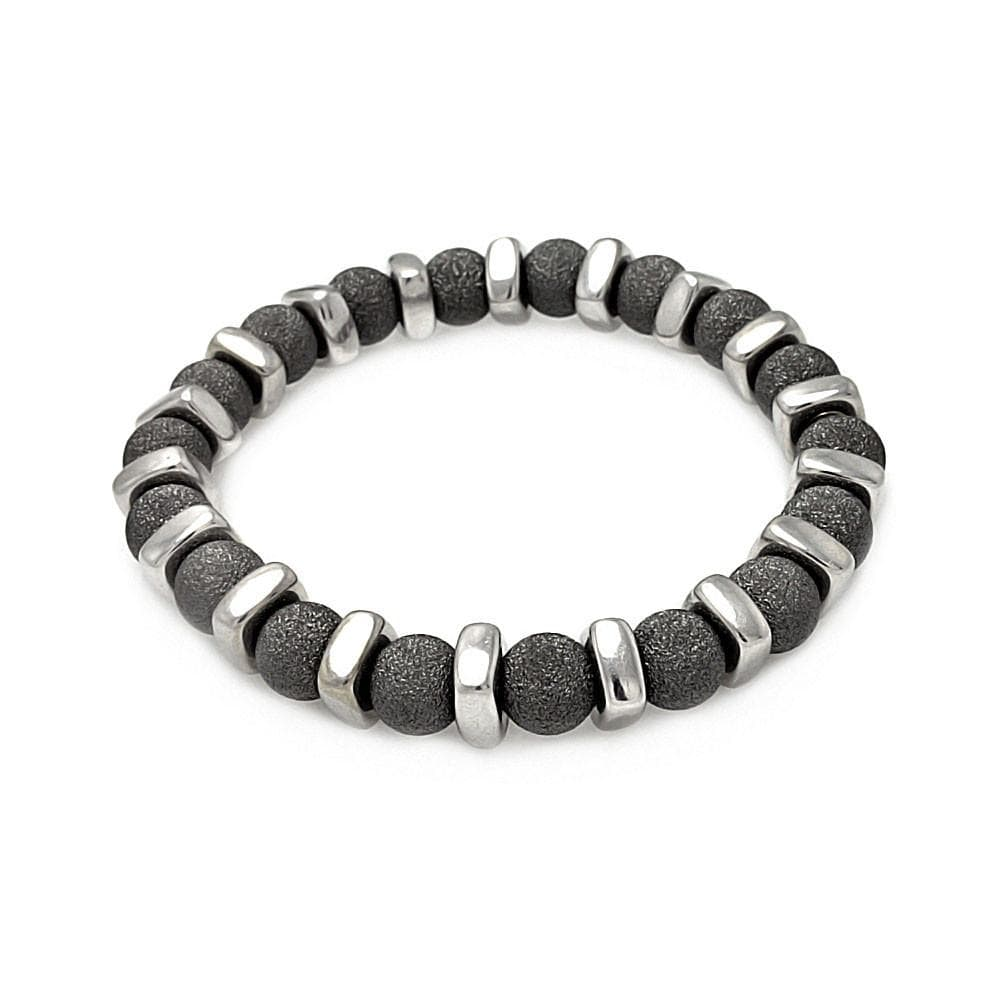 Sterling Silver 925 Stretchable Italian Bead Chain Bracelet  567-itb00089blk: