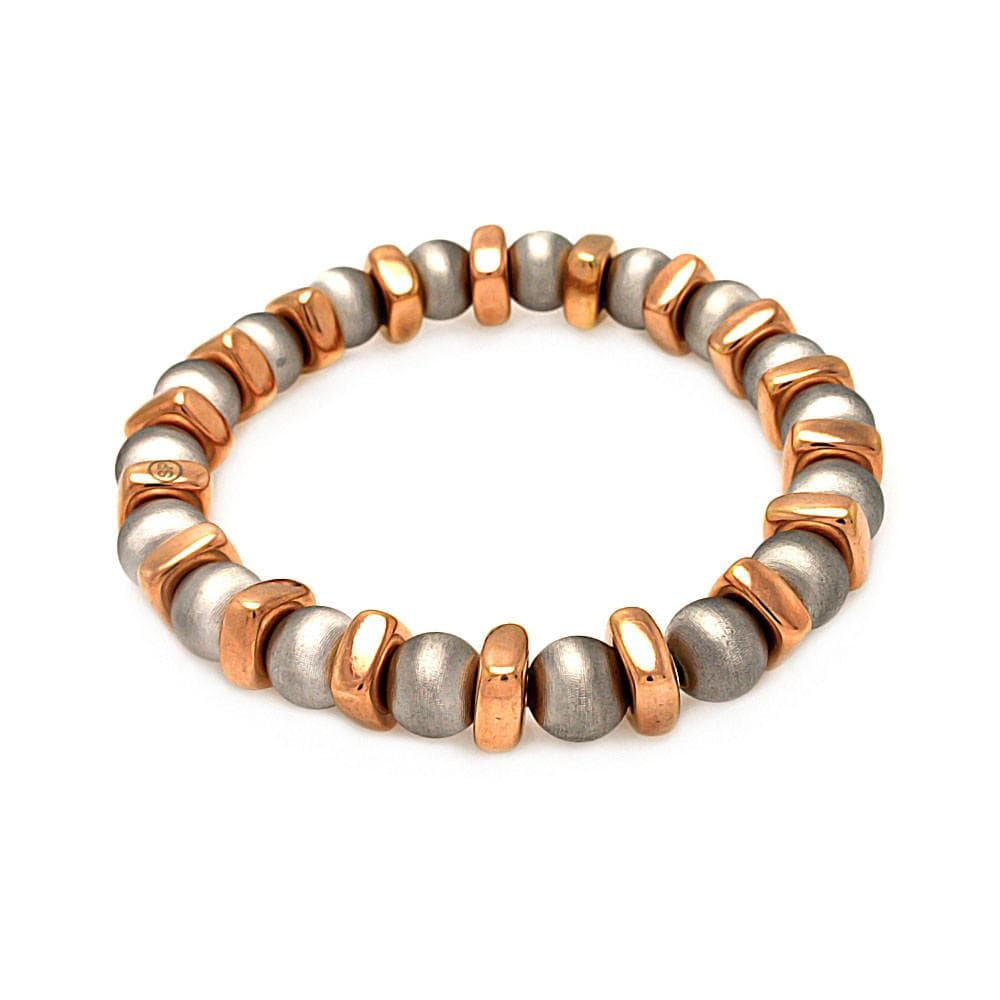 Rose Gold Over Sterling Silver 925 Stretchable Italian Bead Chain Bracelet  567-itb00093rgi: