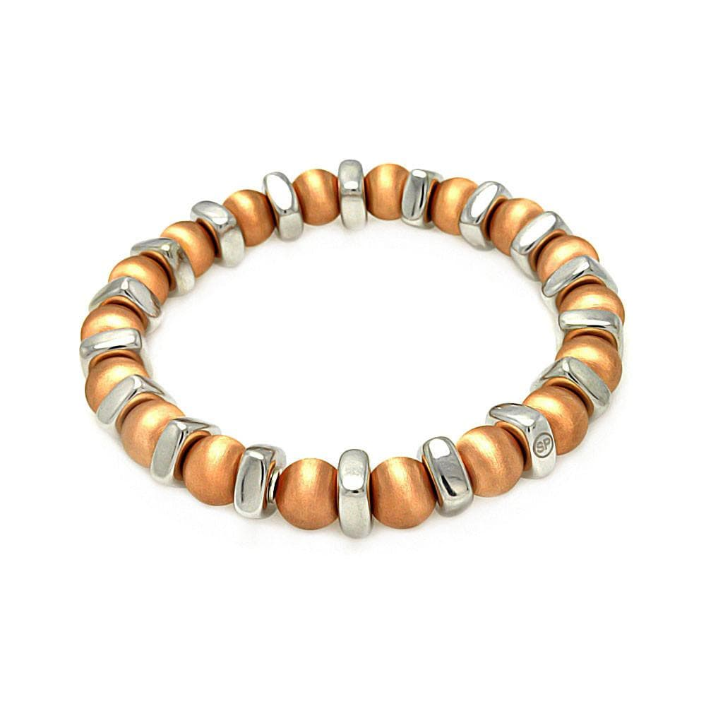 Rose Gold Over Sterling Silver 925 Stretchable Italian Bead Chain Bracelet  567-itb00093rgo: