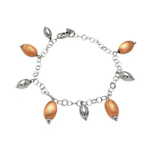 "Rose Gold Over Sterling Silver 925 Italian Charm Bead Chain Bracelet 7.5"""" 567-itb00105rgp:"