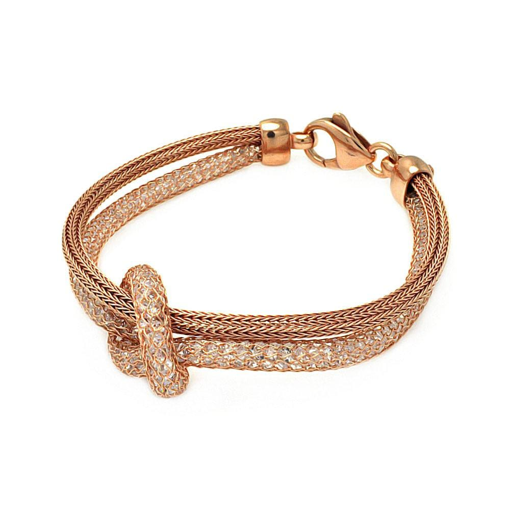 "Rose Gold Over Sterling Silver 925 Italian Bracelet 7.5"""" 567-itb00118rgp:"