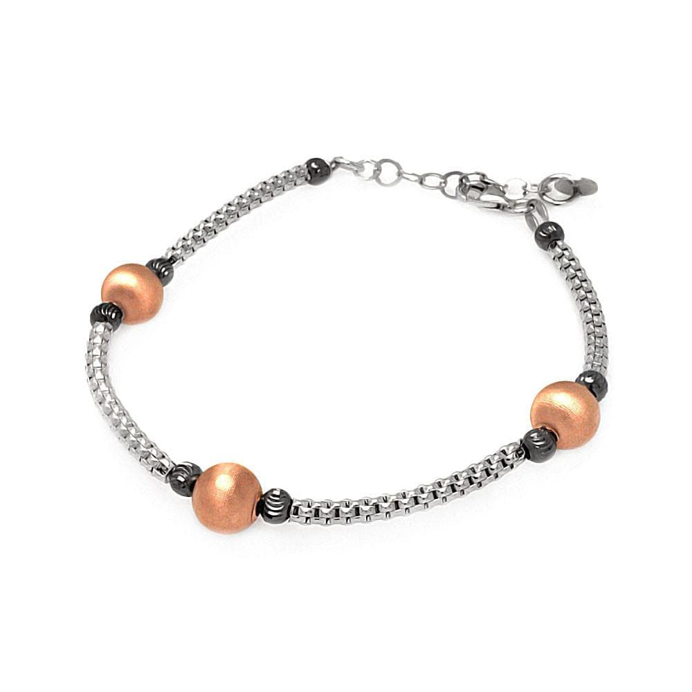 "Rose Gold Over Sterling Silver 925 Italian Bead Chain Bracelet 7"""" 567-itb00122rgp:"