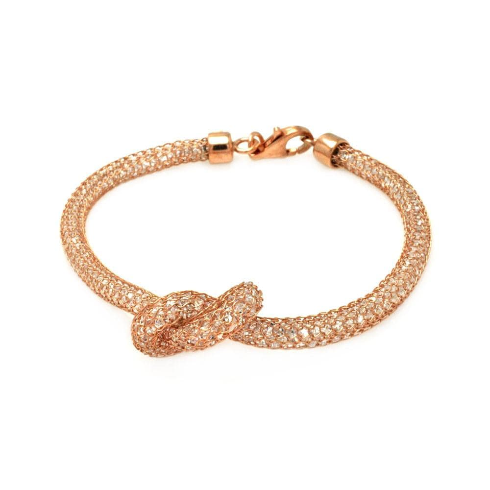 "Rose Gold Over Sterling Silver 925 Cubic Zirconia CZ Italian Mesh Bracelet 7.5"""" 567-itb00124rgp:"