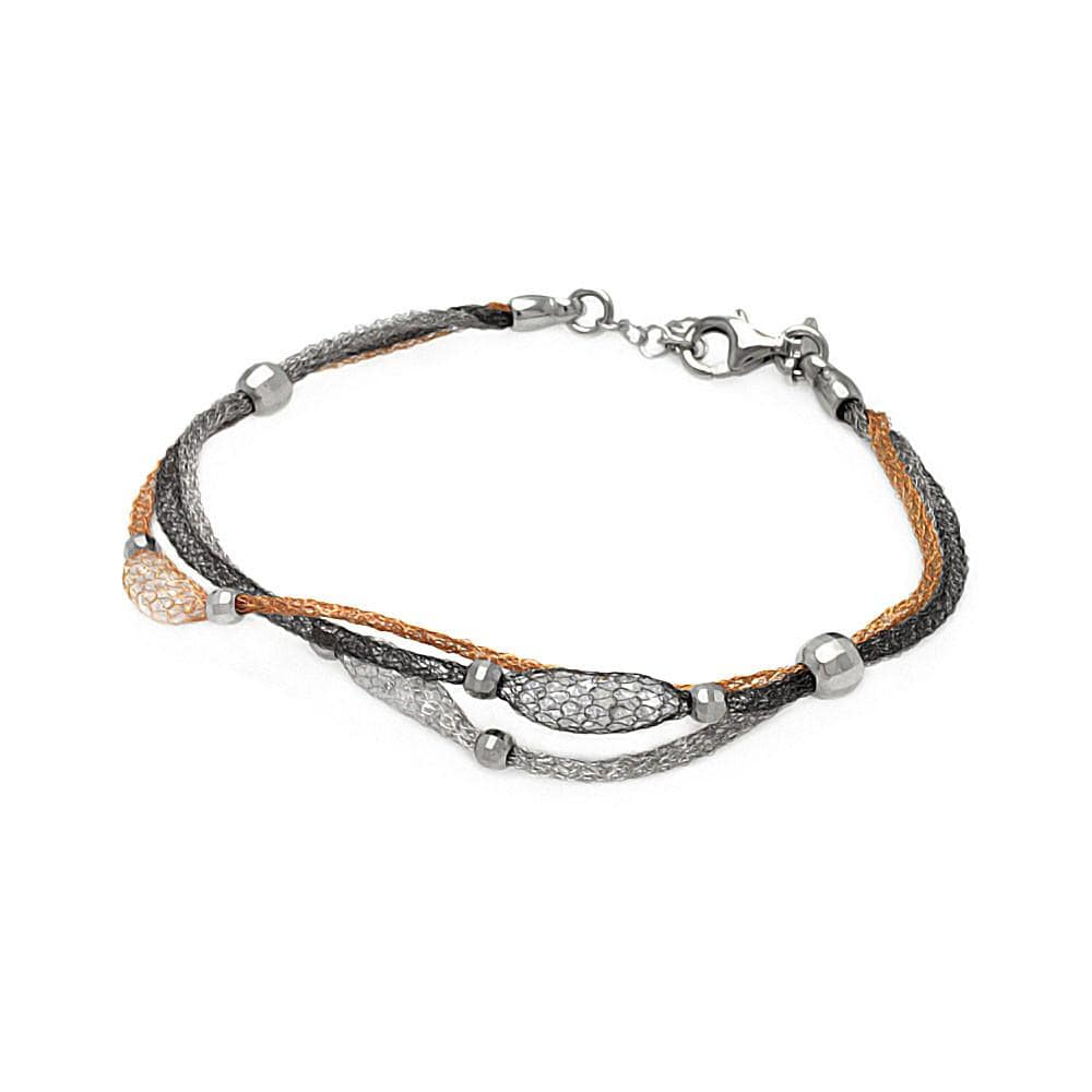 "Yellow Rose Gold Over Sterling Silver 925 Italian Mesh Bracelet 7"""" 567-itb00127mul:"