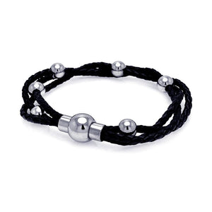 Stainless Steel 316 Leather Bangle Bead Chain Bracelet  567-slb00003: