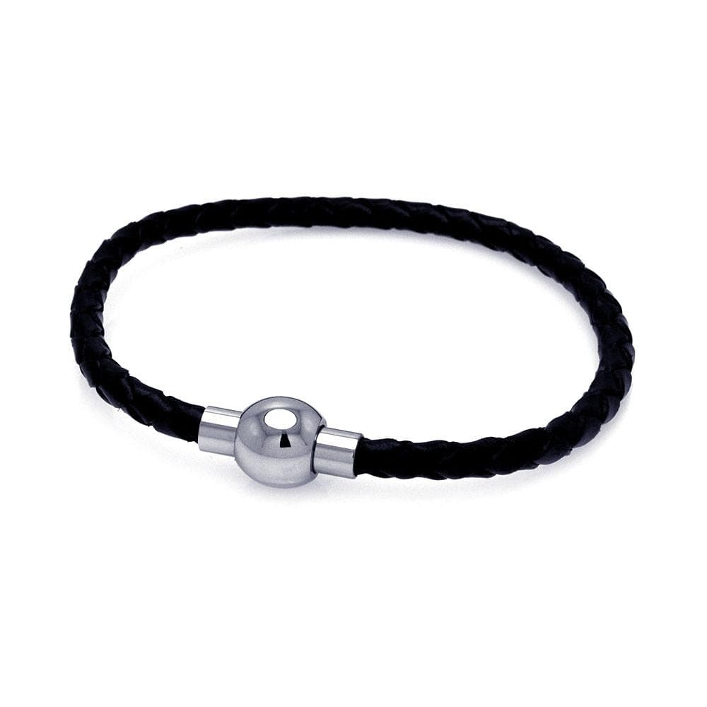 "Stainless Steel 316 Leather Bead Chain Bracelet 7.5"""" 567-slb00004:"