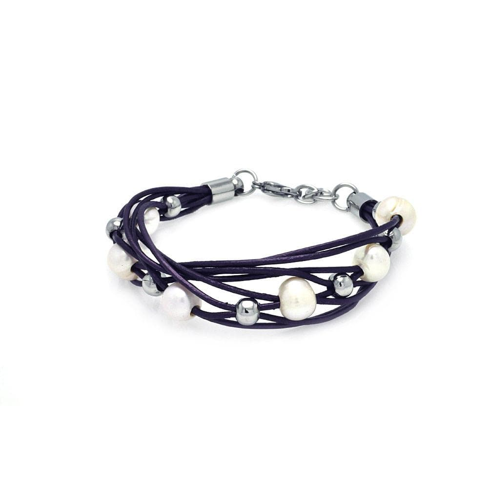 "Stainless Steel 316 Pearl Leather PurpleCubic Zirconia CZ Bracelet 7"""" 567-slb00008.:"