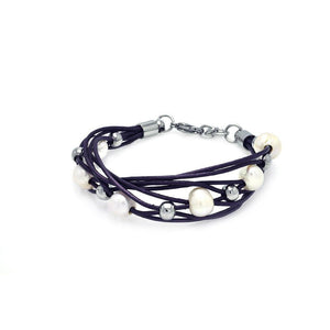 Stainless Steel Purple Pearl Link Bracelet: