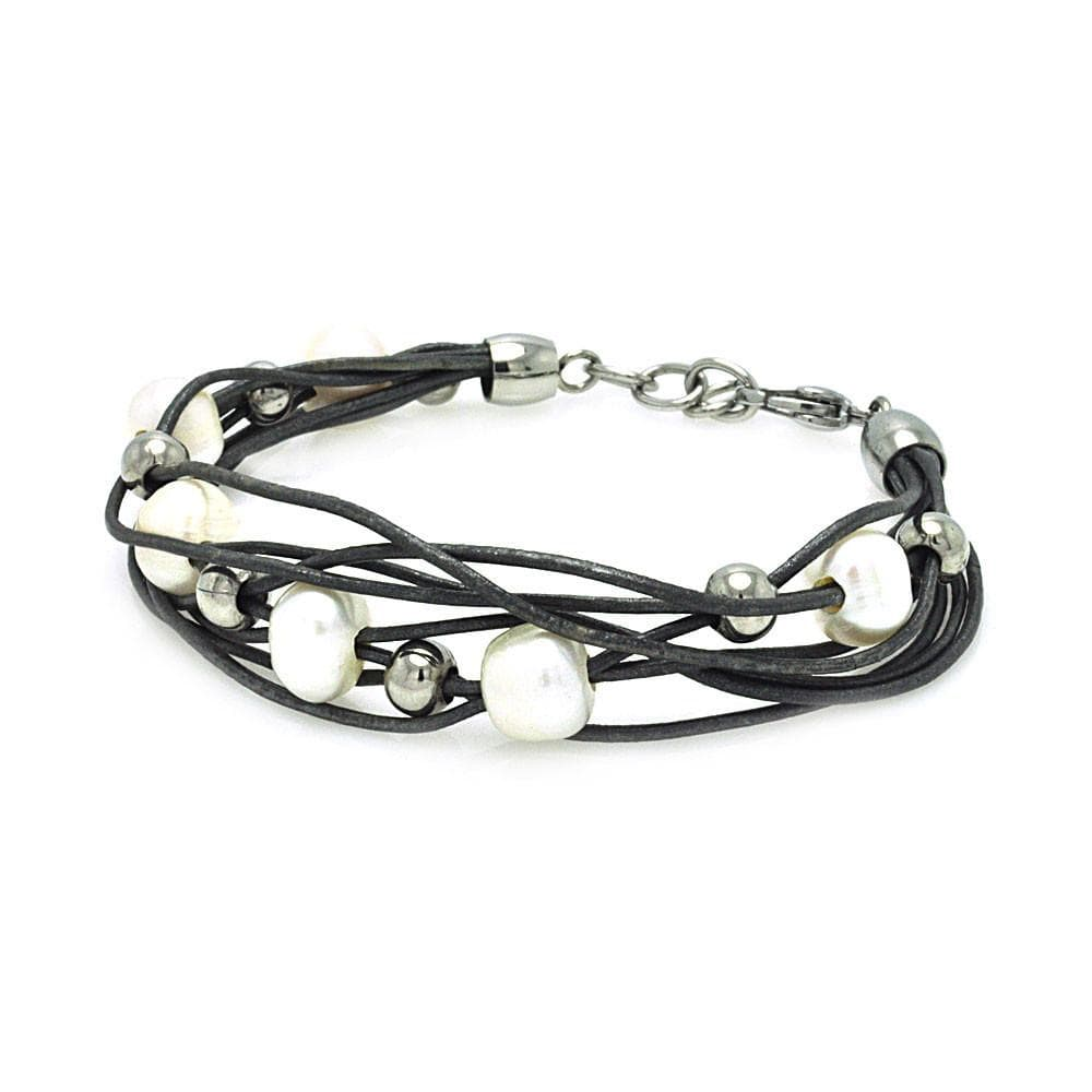 "Stainless Steel 316 Pearl Leather Bracelet 7"""" 567-slb00009:"