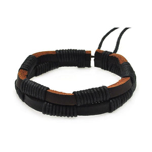 Stainless Steel 316 Black Brown Leather Bracelet 567-slb00012: